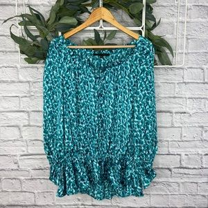Cynthia Steffe Green Blue Long Sleeve Boho Blouse
